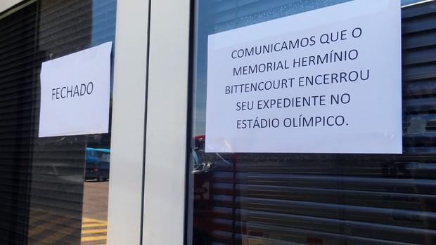 Memorial Hermínio Bittencour anuncia fim das atividades no Olímpico (Foto: Lucas Rizzatti/Globoesporte.com)
