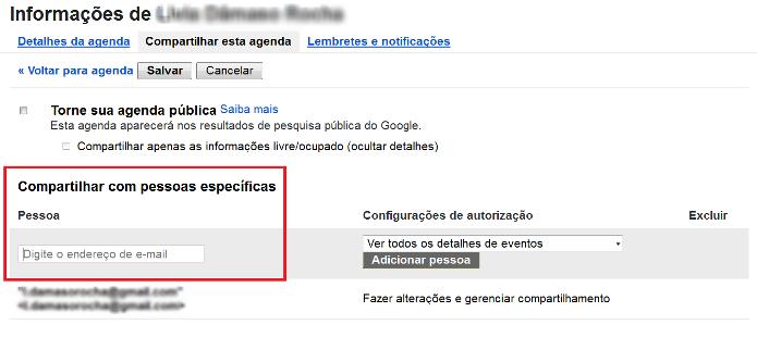 Inserindo o contato que deseja compartilhar a agenda do Google (Foto: Reprodução/Lívia Dâmaso)