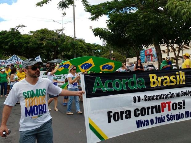 Manifestantes apoiaram o juiz Sergio Moro e se declararam contra a corrupção (Foto: Divulgação/Polícia Militar)