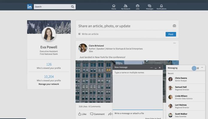 LinkedIn muda chat e permite iniciar conversar de qualquer ponto da interface (Foto: Divulgação/LinkedIn)