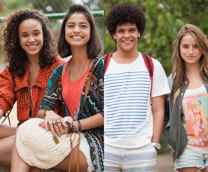 Eles também arrasam: Vera (Mari Oliveira), Krika (Cynthia Senek), BB (Paulo Hebrom) e Camila (Manuela Llerena) (Foto: Fabiano Battaglin/Gshow)