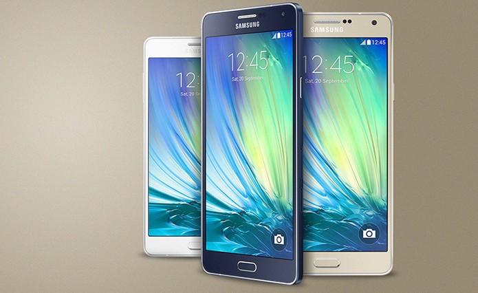 Galaxy A7 está disponível nas cores preto, branco e dourado (Foto: Divulgação/Samsung)