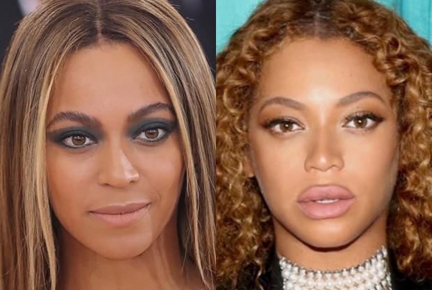 Beyoncé antes da segunda gravidez e atualmente (Foto: Getty Images e Reprodução)