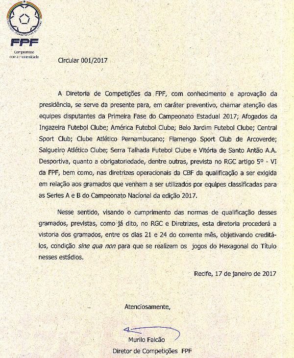 Circular emitida pela FPF sobre vistoria nos gramados  (Foto: Reprodução / FPF)
