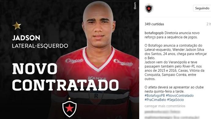 7323badade Botafogo-PB anunciou nesta quarta-feira a contratação de Jadson (Foto   Divulgação