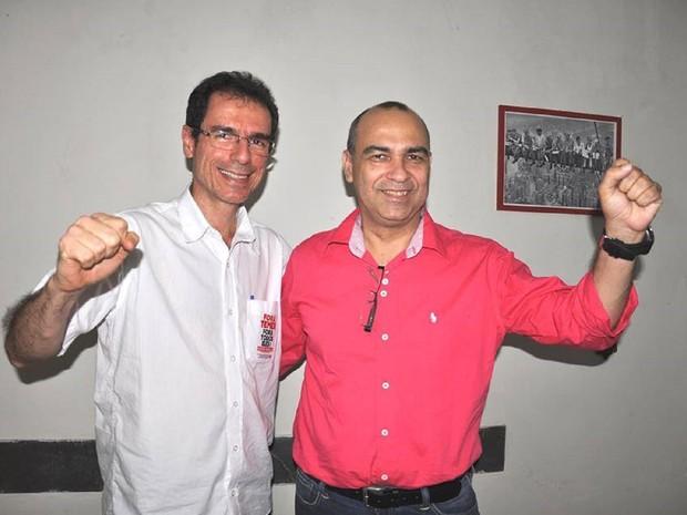 Paulo Fakcão (esq.) e Albani Barros, candidatos a prefeito e vice de Maceió (Foto: Divulgação/Ascom PCB-AL)