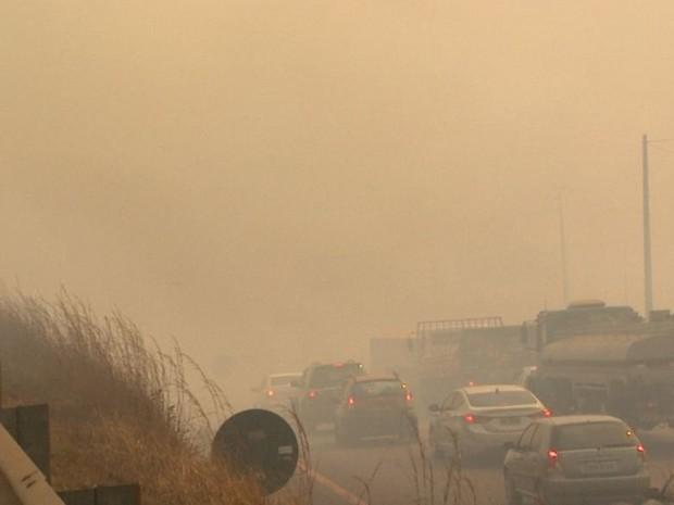 Motoristas perderam visibilidade em rodovia de Pitangueiras (Foto: Paulo Souza/EPTV)