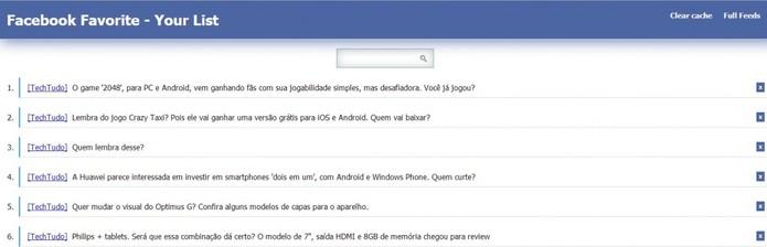 Lista dos posts armazenados no Facebook Favorite (Foto: Reprodução/ Marcela Vaz)