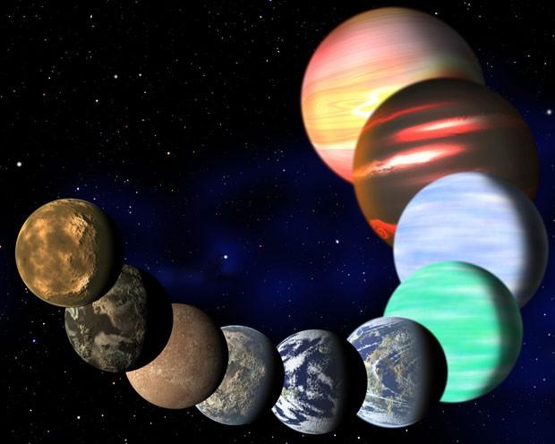 Ilustração mostra diferentes tipos de planetas existentes na Via Láctea que foram detectados pela sonda Kepler, da Nasa (Foto: Harvard-Smithsonian Center for Astrophysics/AP)