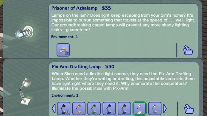 Várias lâmpadas em The Sims 2 fazem referências engraçadas em seus nomes (Foto: Reprodução/Imgur)