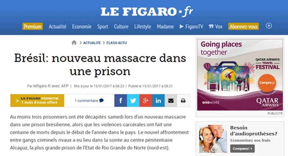 'Le Figaro' menciona novo massacre em uma prisão brasileira (Foto: Reprodução/Le Figaro)