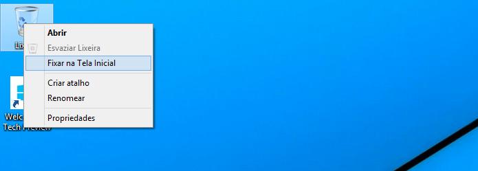 Fixando a Lixeira no menu Iniciar do Windows 10 (Foto: Reprodução/Edivaldo Brito)