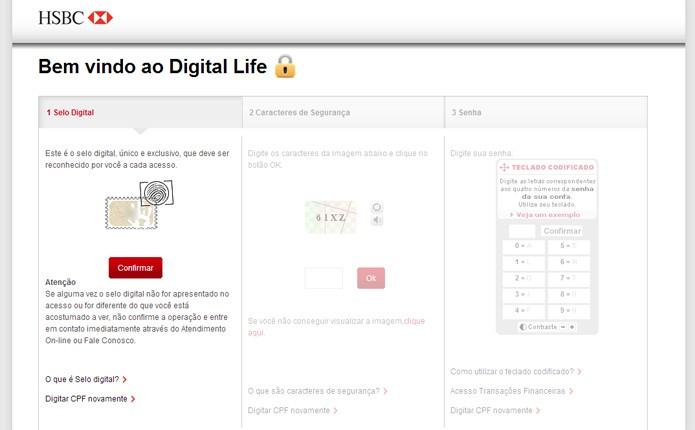 No HSBC o cliente precisa reconhecer o número do selo de segurança para ter acesso aos teclados codificados e virtual do banco (Foto: Reprodução/Karla Soares)
