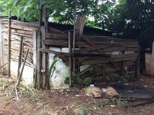Famílias moram em barracos erguidos com tábuas e pedaços de madeira (Foto: Fernanda Borges/G1)