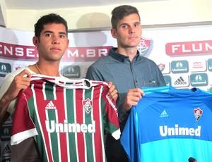 Julio Cesar e Renato, apresentação Fluminense (Foto: Hector Werlang)
