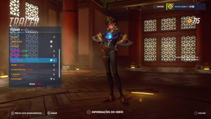 A protagonista Tracer também foi presenteada com novos itens em Overwatch (Foto: Reprodução/Murilo Molina)