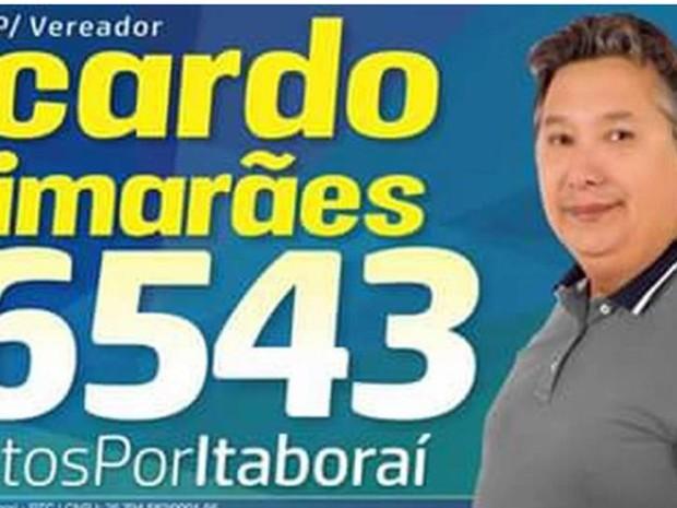 Candidato a vereador em Itabora�, Regi�o Metropolitana do Rio, Ricardo Guimar�es foi morto a tiro neste domingo (25) (Foto: Reprodu��o)
