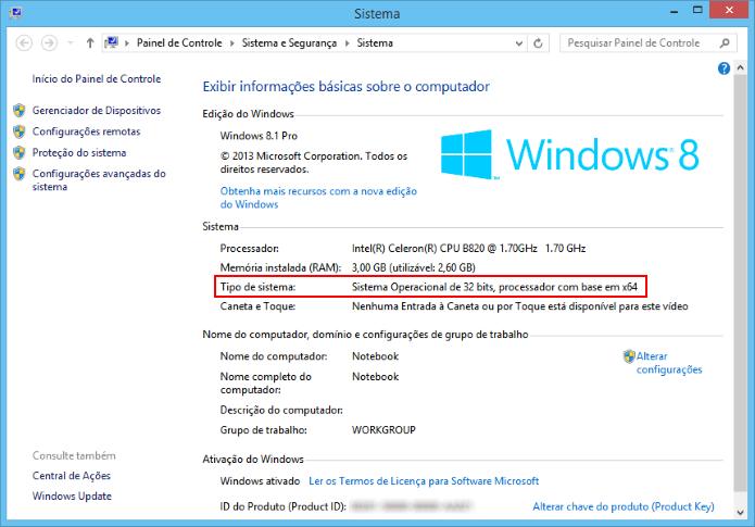 Informação sobre a versão do Windows (Foto: Reprodução/Helito Bijora)