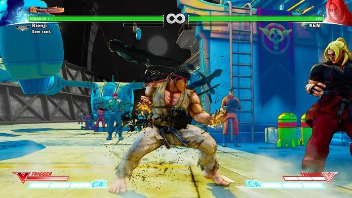 V-Trigger de Ryu ativo em Street Fighter 5 (Foto: Reprodução/Felipe Vinha)