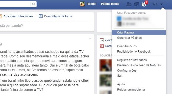 caminho para função Criar Página do Facebook (Foto: Reprodução/ Raquel Freire)