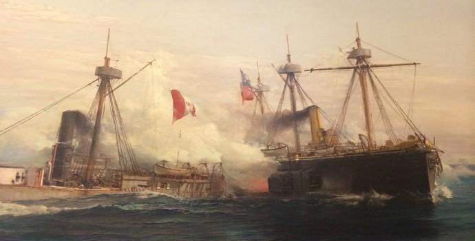 Quadro retrata batalha naval entre Chile e Peru na Guerra do Pacífico: seleções se enfrentam na semi (Foto: Marcelo Hazan)