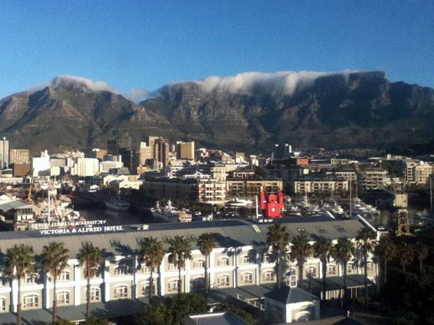 Table Mountain, um dos cartões postais da Cidade do Cabo, na África do Sul.  (Foto: Eduardo Carvalho/G1)