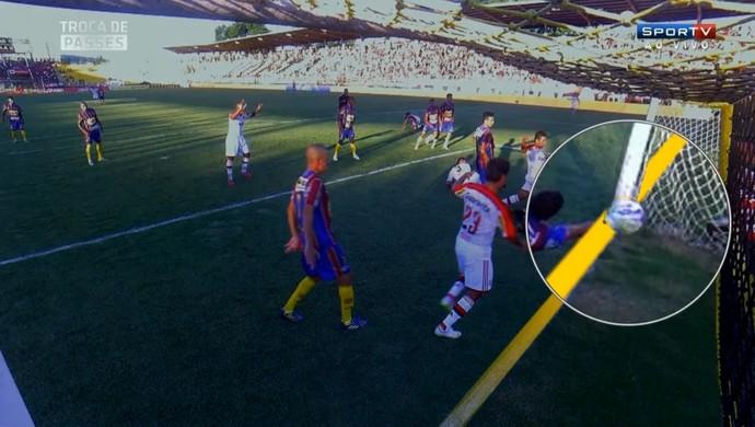 Tira-teima mostra que bola não entrou por inteiro no gol de empate do Fla a21e2ad9e48c2