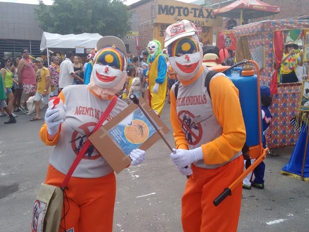 Foliões se vestiram de agentes de endemias para ir ao carnaval de Bezerros (Foto: Joalline Nascimento/ G1)