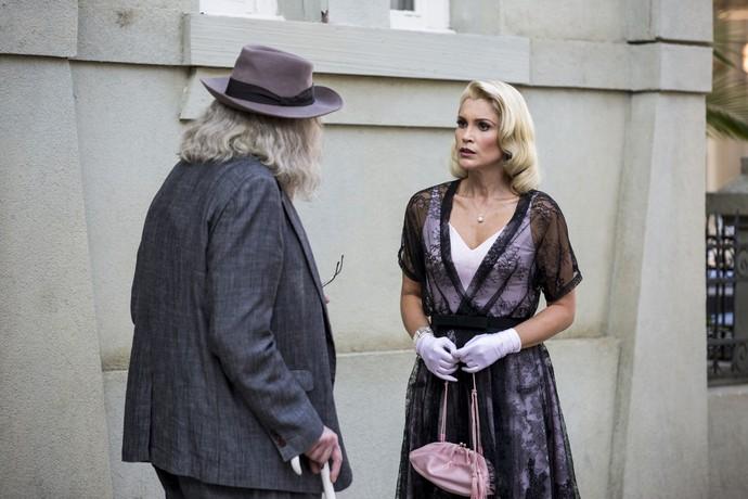 Pancrácio surpreende Sandra saindo do ateliê de Ernesto (Foto: Ellen Soares / Gshow)