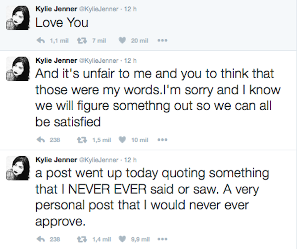 O pedido de desculpas de Kylie Jenner pelo post falso (Foto: Twitter)