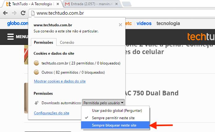 Alterando as permissões para download automático de um site com o Google Chrome (Foto: Reprodução/Marvin Costa)