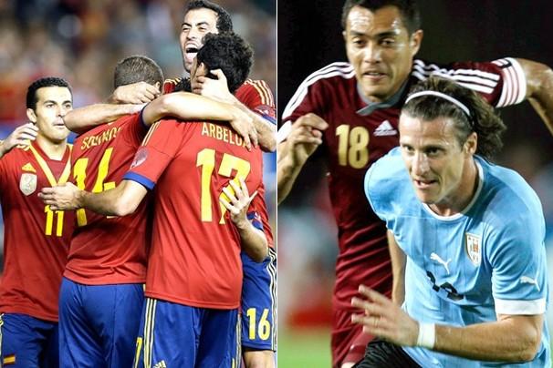 Espanha e Uruguai se enfrentam no domingo, na Arena Pernambuco, em Recife; a Globo exibe (Foto: Associated Press)