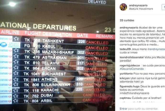 RN Andrey Nazário atentado bomba Istambul Turquia (Foto: Reprodução/Instagram)