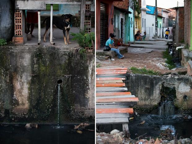 Esgoto das casas são dispensados sem tratamento (à esq.); população convive com mau cheiro (Foto: Jonathan Lins/G1)
