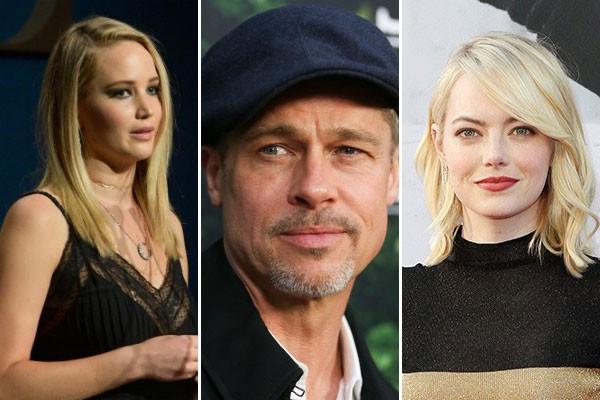Jennifer Lawrence, Brad Pitt e Emma Stone: por menos de US$ 1 milhão, nada feito (Foto: Getty Images)