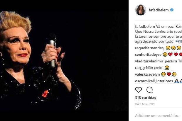 Fafá de Belém lamenta morte de Rogéria (Foto: Reprodução/Instagram)
