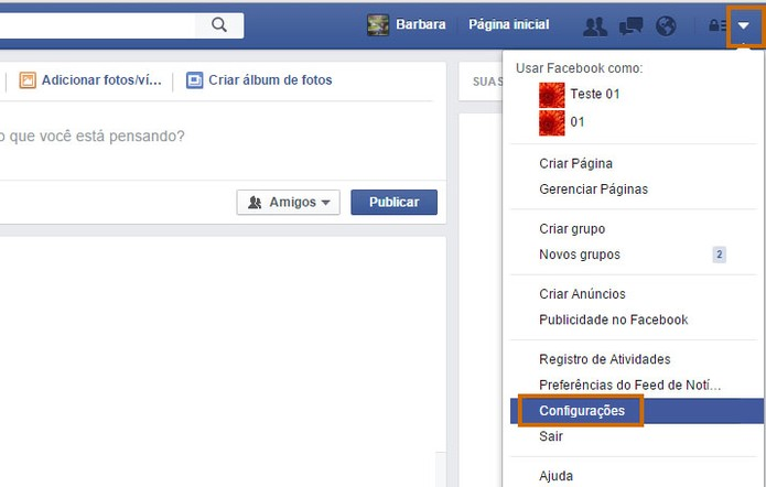 Acesse as configurações do Facebook pelo computador (Foto: Reprodução/Barbara Mannara)