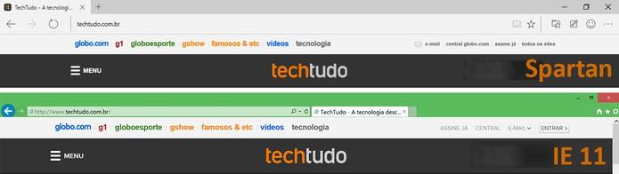 Microsoft reorganizou os botões de navegação e menu no Spartan (Foto: Reprodução/Elson de Souza)