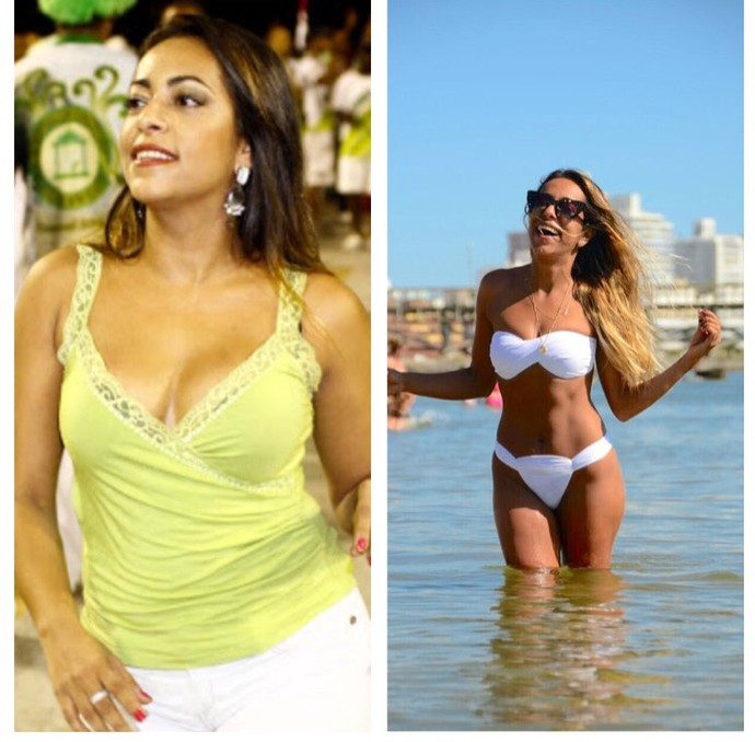 Samantha Schmütz mostra o antes e depois da malhação: atriz perdeu 10kg depois que casou (Foto: Arquivo pessoal)