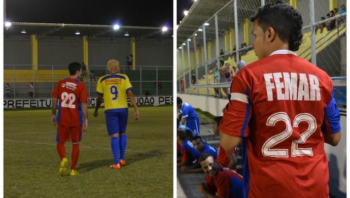 Jogadores do Femar usam camisa 22 (Foto: Hévilla Wanderley / GloboEsporte.com/pb)