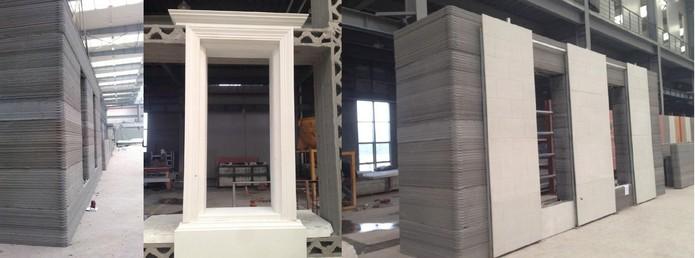 Peças em larga escala são produzidas por impressora 3D para montagem (Foto: Divulgação/WinSun)