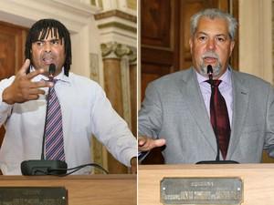 Vereador Mestre Pop (à esquerda) se sentiu ofendido com uma piada expressa pelo também vereador Zé Maria (à direita) (Foto: Divulgação/ Câmara de Curitiba)