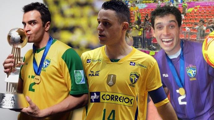 Falcão, Rodrigo e Tiago, jogadores da seleção brasileira de futsal (Foto: Arte/ GloboEsporte.com )