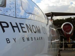Phenom 100 também está em exposição na Labace 2013. (Foto: Carolina Teodora/G1)