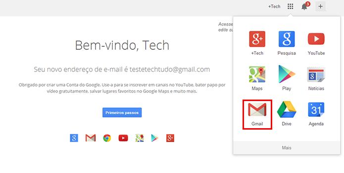 Acesse o Gmail a qualquer momento a partir da página inicial do Google (Foto: Reprodução/Paulo Alves)