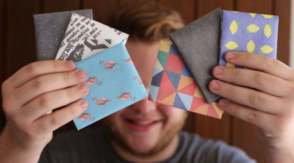 """Carteiras de """"papel"""" produzidas pela Dobra, e-commerce fundado por empreendedores do Rio Grande do Sul (Foto: Divulgação)"""