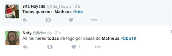 Comentário Matheus BBB16 (Foto: Reprodução Internet)