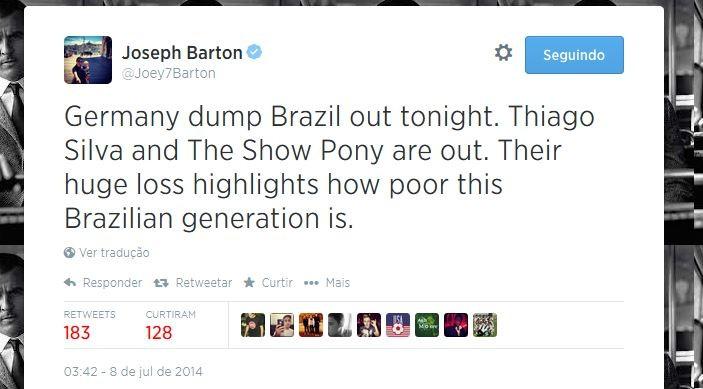 Joey Barton diz que Brasil será eliminado pela Alemanha