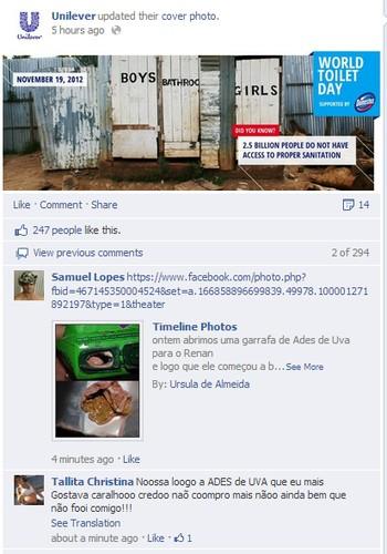 Consumidores estão inserem o link do caso em praticamente todos os posts da página da Unilever (Foto: Reprodução/Facebook)