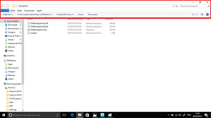 Windows Explorer substituirá interface Ribbon pela clássica através do OldNewExplorer (Foto: Reprodução/Elson de Souza)